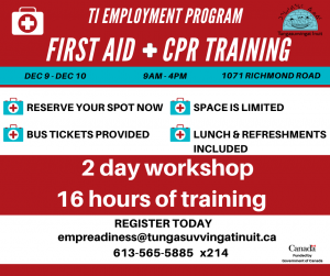 First Aid & CPR Training @ Tungasuvvingat Inuit